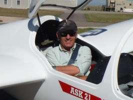 Me in glider cockpit