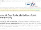 Screenshot of Law360 article on privacy on social media