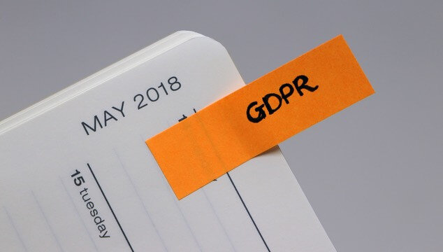Calendar with a bookmark for GDPR on May 15